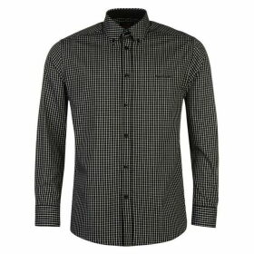 Pierre Cardin Long Sleeve Shirt Mens - Black Check