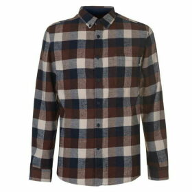 Pierre Cardin Long Sleeve Check Shirt Mens - Brn/Nvy/Wht