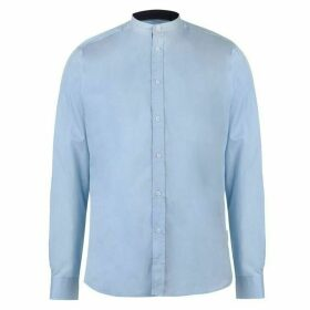 Pierre Cardin Mandarin Collar Long Sleeve Shirt Mens - Blue