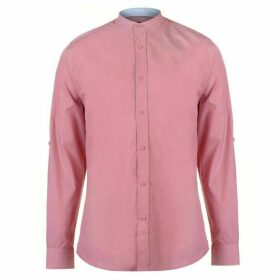 Pierre Cardin Mandarin Collar Long Sleeve Shirt Mens - Light Red
