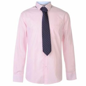 Pierre Cardin Long Sleeve Shirt Tie Set Mens - Pink/Navy Plain