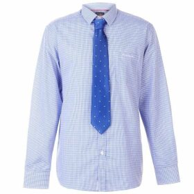 Pierre Cardin Long Sleeve Shirt Tie Set Mens - Blue/Wht Ging