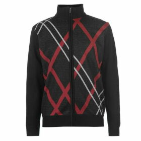 Pierre Cardin Full Zip Argyle Knit Mens - Black