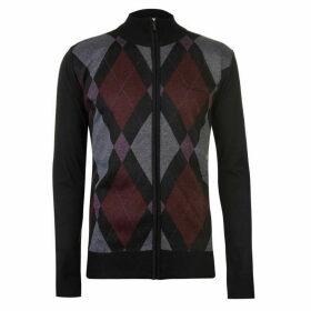 Pierre Cardin Full Zip Argyle Cardigan Mens - Black