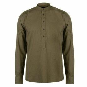 Pierre Cardin Collarless Long Sleeve Shirt Mens - Khaki