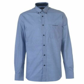 Pierre Cardin Long Sleeve Shirt Mens - Blue/Navy Geo