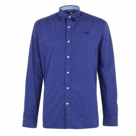 Raging Bull Long Sleeve Polka Dot Shirt - Mid Blue81