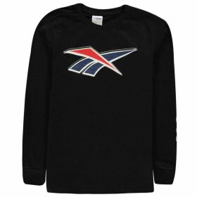Reebok Reebok Long Sleeve Logo T Shirt - Black