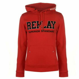 Replay Hoodie With Pouch Pocket and Embroidery - Red 357