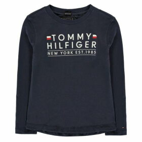 Tommy Hilfiger Essential Long Sleeve Logo T Shirt - Black Iris