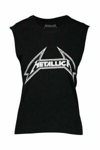 Womens Metallica Licenced Cropped vest Vest - black - M, Black