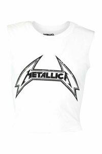 Womens Metallica Licenced Cropped vest Vest - white - M, White