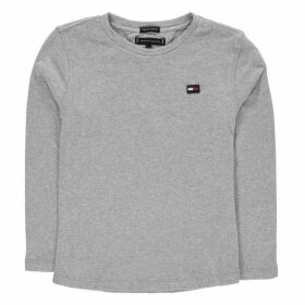 Tommy Hilfiger Essential Ribbed Long Sleeve T Shirt - Grey Htr