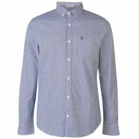 Original Penguin Penguin Long Sleeve Gingham Shirt Mens - Navy 414
