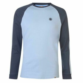 Pretty Green Long Sleeve Raglan T Shirt - Sky Blue/Navy
