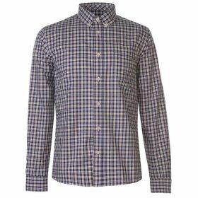Pretty Green Huckleberry Long Sleeve Check Shirt - White Check