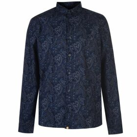 Pretty Green Lescott Long Sleeve Shirt - Navy Paisley