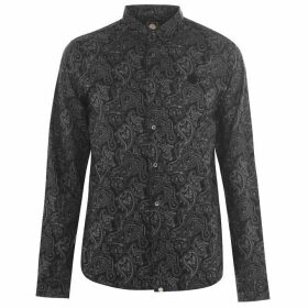 Pretty Green Lescott Long Sleeve Shirt - Black Paisley