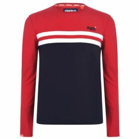Superdry Colour Block Long Sleeve T-Shirt - Rouge Red