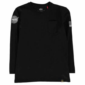 Alpha Industries Nasa Long Sleeve Badge T Shirt - Black 03