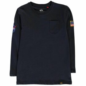 Alpha Industries Nasa Long Sleeve Badge T Shirt - Rep Blue