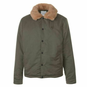 New County Faux Fur Coach Jacket - Khaki
