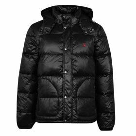 Jack Wills Hirst Wet Look Puffer Jacket - Black