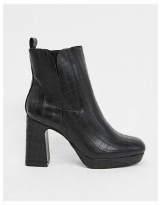Truffle Collection platform heeled boots in black