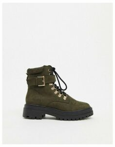 Miss Selfridge chunky boots with gold buckles in khaki-Black