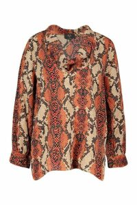 Womens Snake Print Blouse - orange - 12, Orange