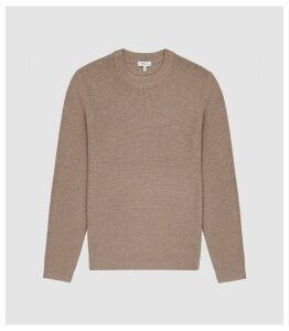 Reiss Redman - Textured Crew Neck Jumper in Taupe, Mens, Size XXL