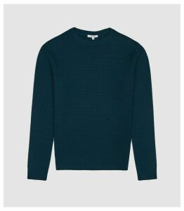 Reiss Redman - Textured Crew Neck Jumper in Teal, Mens, Size XXL