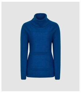 Reiss Shea - Textured Rollneck Jumper in Cobalt Blue, Womens, Size XL