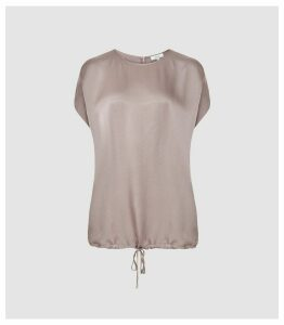 Reiss Maggie - Textured Satin T-shirt in Lilac, Womens, Size 16