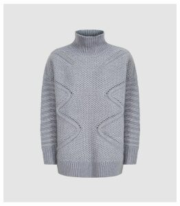 Reiss Myla - Oversized Cable Knit Jumper in Grey, Womens, Size XL