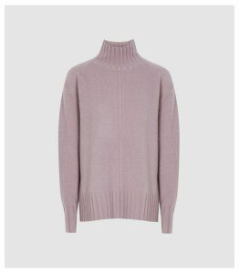 Reiss Bonnie - Wool Cashmere Blend Rollneck Jumper in Light Purple, Womens, Size XL