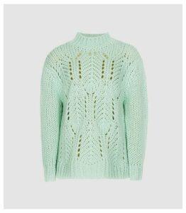 Reiss Amber - Open Knit Jumper in Green, Womens, Size XL