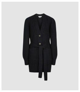 Reiss Ivette - Cotton Wool Blend Cardigan in Navy, Womens, Size XL