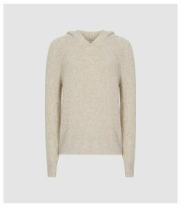 Reiss Halle - Cashmere Blend Boucle Hoodie in Neutral, Womens, Size XL