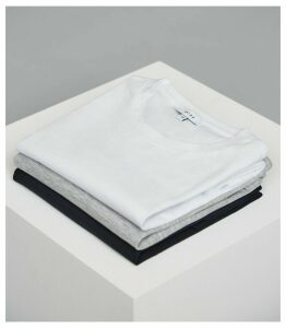 Reiss Bless - Three Pack Of Crew Neck T-shirts in SOFT BLUE/ WHITE/ STONE, Mens, Size XXL