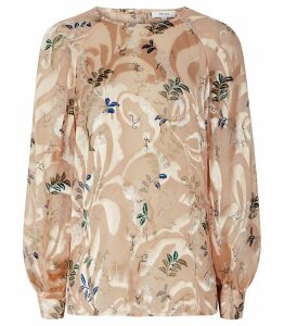 Reiss Almer - Botanical Burnout Print Top in Multi, Womens, Size 14