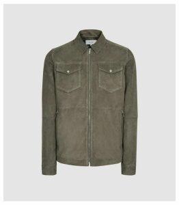 Reiss Cash - Suede Four Pocket Jacket in Sage, Mens, Size XXL