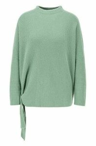 Relaxed-fit sweater in pure cashmere with side ties
