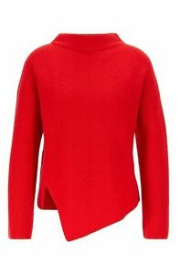 Relaxed-fit cashmere sweater with asymmetrical front