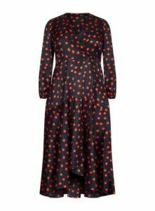 **Live Unlimited Black Fixed Waist Wrap Dress, Black