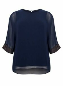 **Live Unlimited Navy 3/4 Sleeved Blouse, Navy