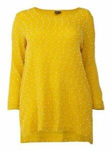 **Izabel Curve Mustard Polka Dot Knit Casual Jumper, Mustard