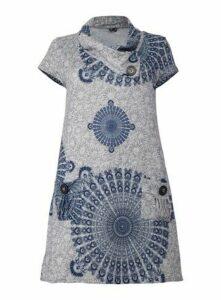 **Izabel Curve Grey Knitted Print Dress, Grey