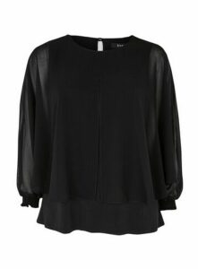 Black Split Front Overlay Blouse, Black