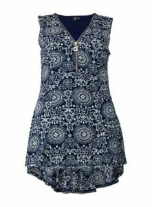 **Izabel Curve Navy Eastern Print Zip Neck Top, Navy
